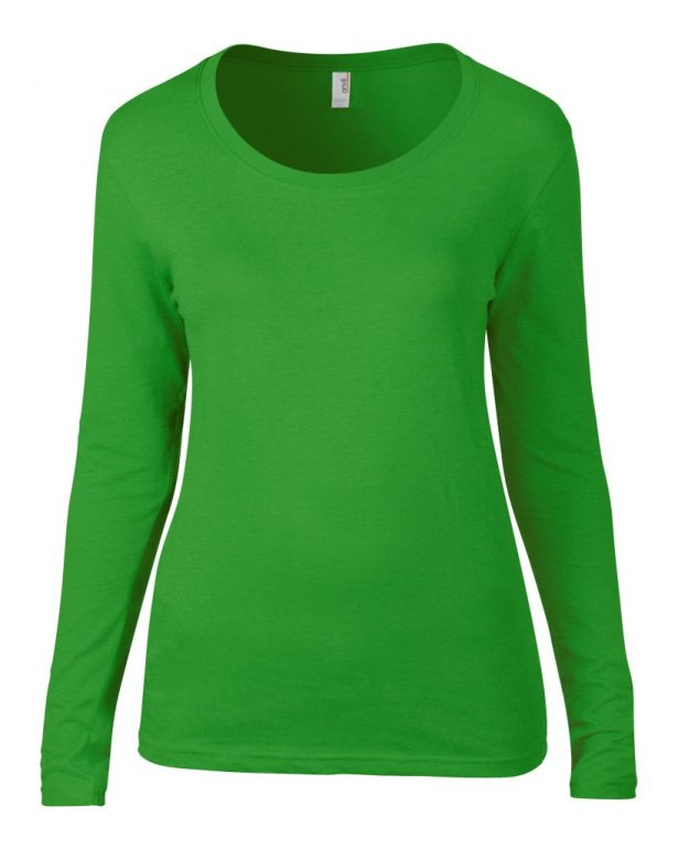 Image 1 of Anvil Ladies Featherweight Long Sleeve Scoop Neck T-Shirt