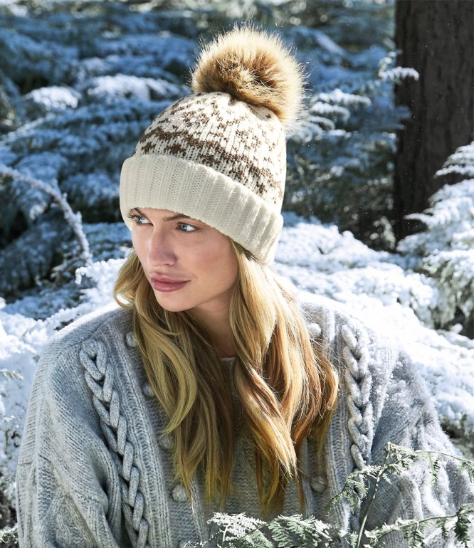 Image 1 of Beechfield Fair Isle Faux Fur Pop Pom Beanie