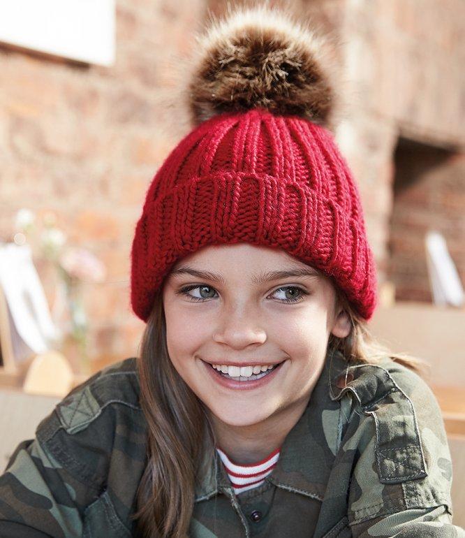 Image 1 of Beechfield Junior Faux Fur Pom Pom Chunky Beanie