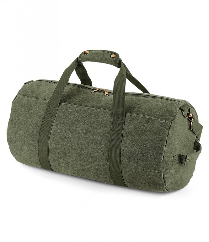 Image 1 of BagBase Vintage Canvas Barrel Bag