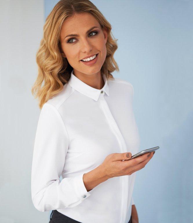 Image 1 of Brook Taverner Ladies Capri Long Sleeve Blouse