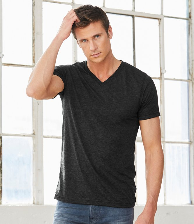 Image 1 of Canvas Unisex Tri-Blend V Neck T-Shirt