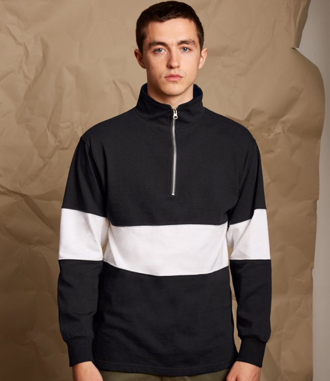 Image 1 of Front Row Panelled Zip Neck Top