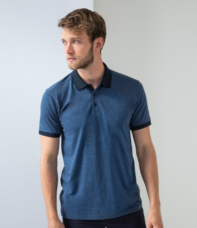 Image 1 of Henbury Contrast Tri-Blend Jersey Polo Shirt