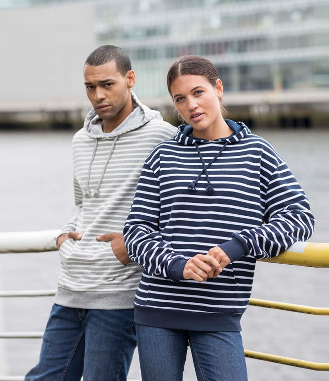 Image 1 of AWDis Nautical Striped Hoodie