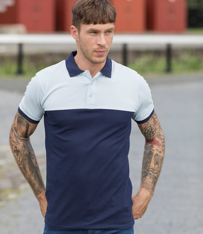 Image 1 of AWDis Colour Block Piqué Polo Shirt