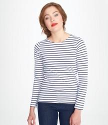 SOL'S Ladies Marine Long Sleeve Striped T-Shirt image