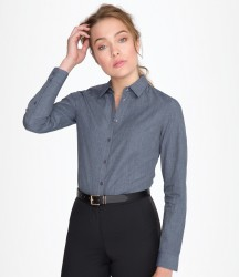 SOL'S Ladies Barnet Long Sleeve Heather Poplin Shirt image