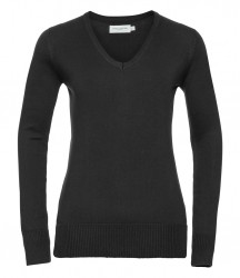 Russell Collection Ladies Cotton Acrylic V Neck Sweater image
