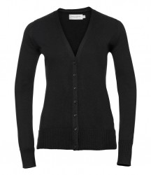 Russell Collection Ladies Cotton Acrylic V Neck Cardigan image