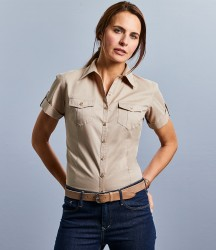 Russell Collection Ladies Short Sleeve Twill Roll Shirt image