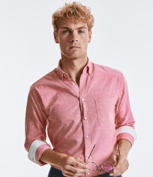Russell Collection Tailored Long Sleeve Washed Oxford Shirt image