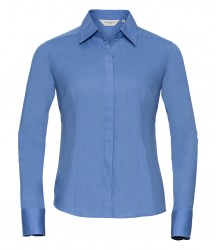 Russell Collection Ladies Long Sleeve Fitted Poplin Shirt image
