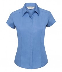 Russell Collection Ladies Cap Sleeve Fitted Poplin Shirt image