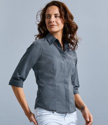 Russell Collection Ladies 3/4 Sleeve Fitted Poplin Shirt image