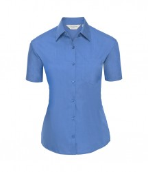 Russell Collection Ladies Short Sleeve Easy Care Poplin Shirt image
