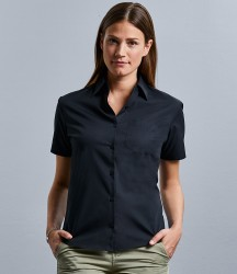 Russell Collection Ladies Short Sleeve Easy Care Cotton Poplin Shirt image