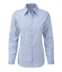 Russell Collection Ladies Long Sleeve Herringbone Shirt image