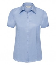 Russell Collection Ladies Short Sleeve Herringbone Shirt image