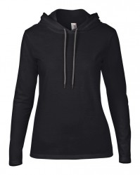 Image 2 of Anvil Ladies Lightweight Long Sleeve Hooded T-Shirt