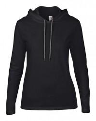 Image 2 of Anvil Ladies Lightweight Long Sleeve Hooded T-Shirt