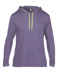Image 3 of Anvil Lightweight Long Sleeve Hooded T-Shirt