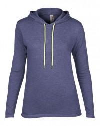 Image 9 of Anvil Ladies Lightweight Long Sleeve Hooded T-Shirt