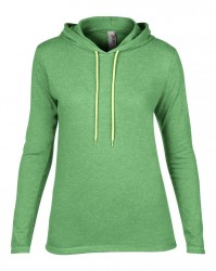 Image 7 of Anvil Ladies Lightweight Long Sleeve Hooded T-Shirt