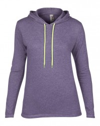 Image 6 of Anvil Ladies Lightweight Long Sleeve Hooded T-Shirt