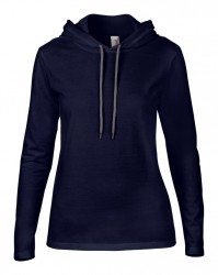 Image 3 of Anvil Ladies Lightweight Long Sleeve Hooded T-Shirt