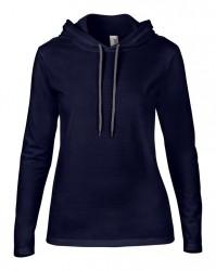 Image 5 of Anvil Ladies Lightweight Long Sleeve Hooded T-Shirt