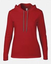 Image 6 of Anvil Ladies Lightweight Long Sleeve Hooded T-Shirt