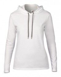 Image 7 of Anvil Ladies Lightweight Long Sleeve Hooded T-Shirt