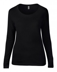 Image 3 of Anvil Ladies Featherweight Long Sleeve Scoop Neck T-Shirt
