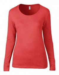 Image 4 of Anvil Ladies Featherweight Long Sleeve Scoop Neck T-Shirt