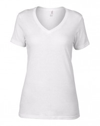 Image 3 of Anvil Ladies Featherweight V Neck T-Shirt