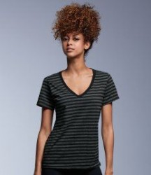 Image 1 of Anvil Ladies Fashion Basic Striped V Neck T-Shirt