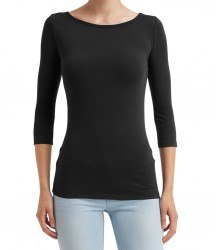 Image 2 of Anvil Ladies Stretch 3/4 Sleeve T-Shirt