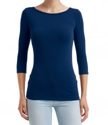 Image 4 of Anvil Ladies Stretch 3/4 Sleeve T-Shirt