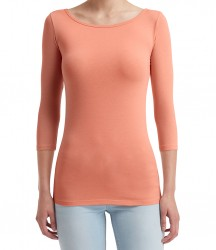 Image 5 of Anvil Ladies Stretch 3/4 Sleeve T-Shirt