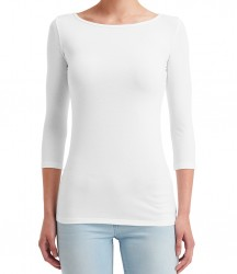 Image 6 of Anvil Ladies Stretch 3/4 Sleeve T-Shirt