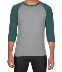 Image 3 of Anvil Tri-Blend 3/4 Sleeve Raglan T-Shirt