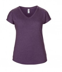 Image 4 of Anvil Ladies Tri-Blend V Neck T-Shirt