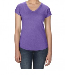 Image 2 of Anvil Ladies Tri-Blend V Neck T-Shirt
