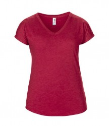 Image 3 of Anvil Ladies Tri-Blend V Neck T-Shirt