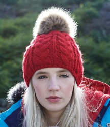 Beechfield Fur Pop Pom Cable Beanie image