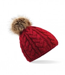 Image 4 of Beechfield Fur Pop Pom Cable Beanie