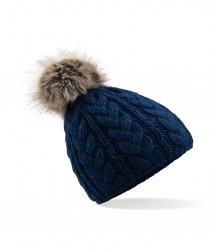 Image 3 of Beechfield Fur Pop Pom Cable Beanie