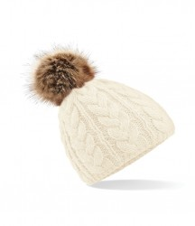 Image 2 of Beechfield Fur Pop Pom Cable Beanie