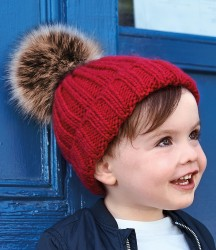 Image 1 of Beechfield Infant Faux Fur Pom Pom Chunky Beanie
